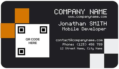 Orange black business card bc010 qr code bc010 orange black business card in action colourmoves